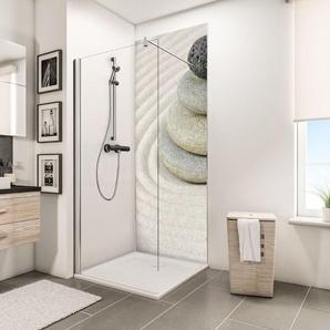 Panneau mural 90 x 210 cm, revêtement pour douche et salle de bains, DécoDesign PHOTO, Schulte, Pierres zen et plage