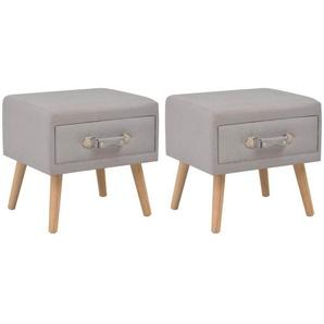 Table de nuit chevet commode armoire meuble chambre 2 pcs gris 40x35x40 cm tissu - Gris - HELLOSHOP26