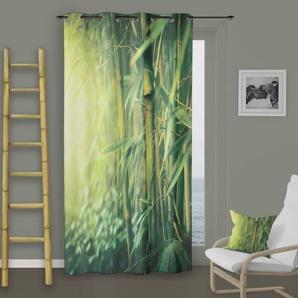 SOLEIL DOCRE Rideau à Œillets Bambou - 140x260 cm - Vert
