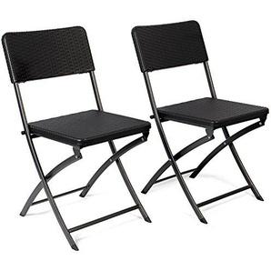 Vanage - Chaises de Jardin - Lot de 2 - Chaises  pliantes de haute qualité en Rotin synthétique - Dossier haut - Ultra confortable et Design intemporel !