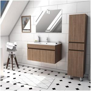Ensemble Meuble de salle de bain chene celtique 60cm suspendu a portes + vasque ceramique blanche + miroir applique led + meuble colonne sur pied - STARTED pack 33 - AURLANE