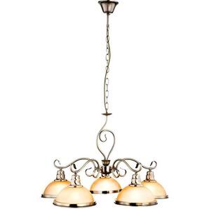Suspension LED RGB, laiton antique, verre ambré, H 138 cm, SASSARI - ETC-SHOP