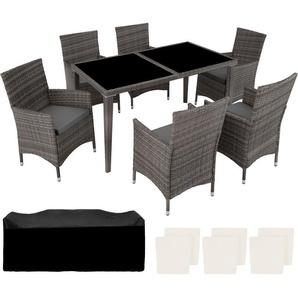 Salon de Jardin 6 Places avec 1 Table à manger en Résine Tressée et Aluminium Gris - TECTAKE
