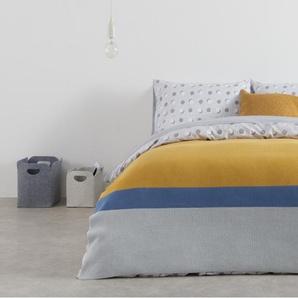Essentials Colourblock plaid 100% coton, 130 x 170 cm, gris, bleu et jaune moutarde