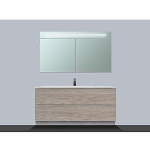 Saniclass EVO Meuble avec armoire miroir 80cm 1 trou pour robinetterie Blanc
