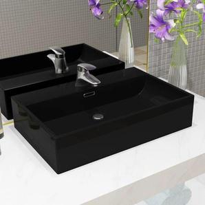 Vasque avec trou de robinet en céramique Noir 76x42,5x14,5 cm - VIDAXL