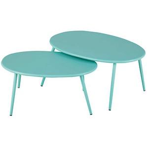 Tables gigognes de jardin en métal turquoise Lumpa