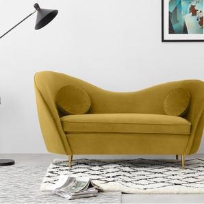Kooper, canapé 2 places, velours doré vintage et pieds en laiton