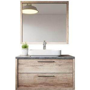 Meuble de salle de bain Indiana 90cm lavabo nature wood – Armoire de rangement Meuble lavabo miroir - BADPLAATS