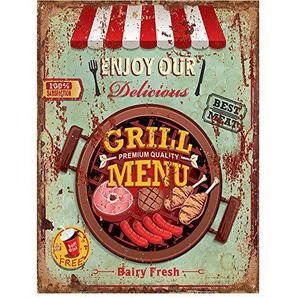 Plaque décor en fer Style Vintage Grill menu  25 x 33 cm