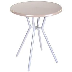 Table de jardin ronde 60cm en acier beige ZAMORA - L 60 x l 60 x H 70 - Beige - MA MAISON MES TENDANCES