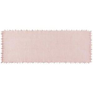 Tapis à pompons en coton rose 80x200