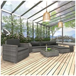Salon de jardin 8 pcs avec coussins Résine tressée Gris - VIDAXL