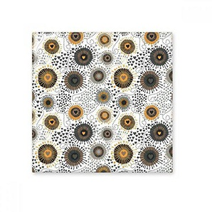 DIYthinker Résumé Fleurs Noir Jaune pétales Spots en céramique Bisque Carrelage Salle de Bains Décor de Cuisine Carreaux de céramique Carreaux Moyen