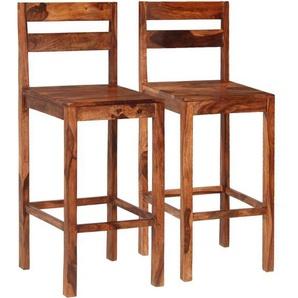 Chaises de bar 2 pcs Marron Bois solide de Sesham - VIDAXL