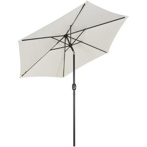 Sekey® 2.7m Parasol inclinable pour Patio Jardin Balcon Piscine Plage Rond Protection Solaire UV50+ Crème