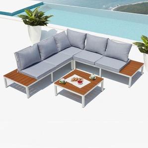 Fira, salon de jardin en aluminium Blanc & Gris - CONCEPT-USINE