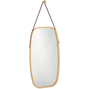 miroir à accrocher, cadre en bambou, sangle réglable, miroir mural ovale, moderne, couloir, chambre, naturel - RELAXDAYS