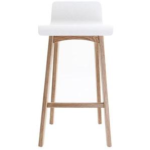 Chaise de bar scandinave bois 65 cm BALTIK - Blanc - MILIBOO
