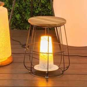 Lampe de table en bois et acier noir AVEIRO - L 36.50 x l 36.50 x H 44.50 - MA MAISON MES TENDANCES