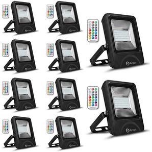 10×Anten 50W RGB Projecteur LED IP65 Étanche Lampe Halogène 16 Couleurs 4 Modes, Ultra-Mince Spot Éclairage Dimmable Extérieur, Spot LED Multicolore avec Télécommande (Boîte de Jonction Fournie)