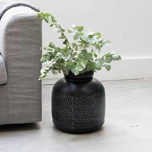 Bonbonne en aluminium motifs gravés blanchis et finition noire mate Jaya 30,5 x 32 cm