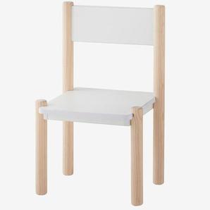 Chaise maternelle pour table de jeu LIGNE WOODY blanc - bois