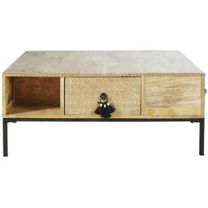 Table basse carrée 4 tiroirs en manguier massif et métal noir Iroquois