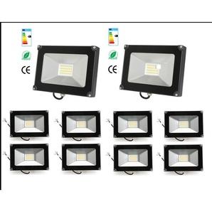10×Anten 50W Projecteur LED Spot LED Étanche IP65 Lumière Extérieur et Intérieur 4000LM Blanc Chaud 3000K Coque Noir