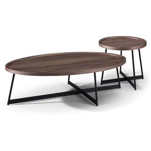 Tables gigognes ovales imitation noyer et métal noir Wyatt