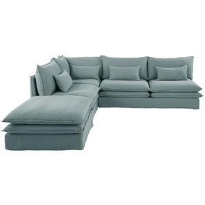 Angle de canapé en lin bleu céladon Pompei