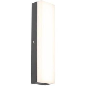 LED Applique extérieure rectangulaire Moderne Graphite / Antracite / Gris Foncé - Opacus Qazqa Moderne Luminaire exterieur IP65
