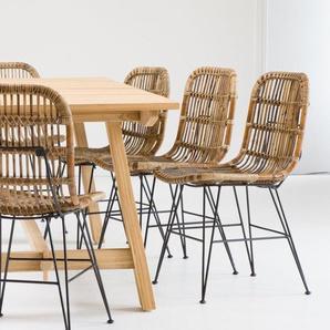 Chaise en rotin brun pieds en métal