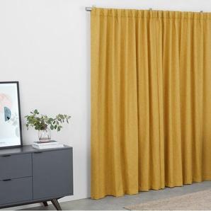 Quintus, paire de rideaux en lin mélangé 168 x 228 cm, jaune moutarde