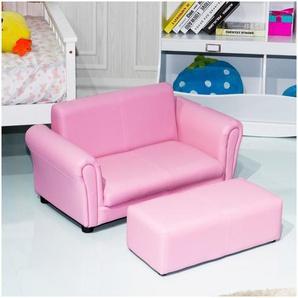 COSTWAY Canapé-lit enfant Sofa Enfant Canapé et Pouf 2 Places pour Enfant Bébé Rose