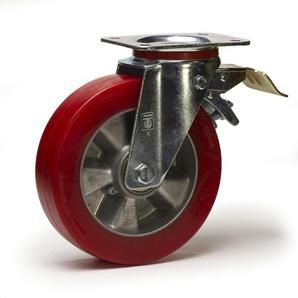 Roulette pivotante à frein diamètre 200 mm polyuréthane rouge REDTHANE® - 350Kg - 2GT