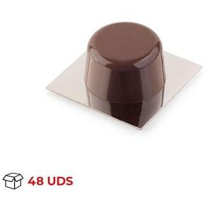 Boîte avec 48 Adhésif pour butée de porte de marque REI, en plastique, avec finition chrome / brun brillant, forme circulaire et design classique