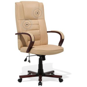 Fauteuil massant - chaise de bureau - cuir beige - DIAMOND