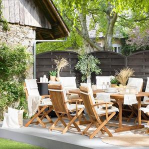 Ensemble de jardin de 8 chaises avec coussin assise beige MAUI