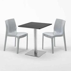 Table carrée 60x60 cm Base Argent E Top Noir Avec 2 Chaises Colorées ICE PISTACHIO | Gris - GRAND SOLEIL