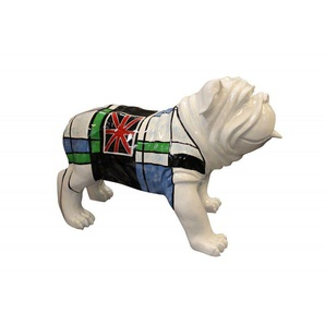 Sculpture dog carreaux bleu vert et drapeau anglais - LORD DOG - Blanc - MEUBLETMOI