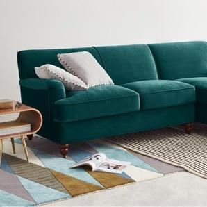 Orson, canapé d'angle avec méridienne à droite, velours bleu écume
