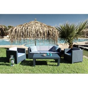 Tropea: Salon de jardin 5 places effet résine tressée anthracite