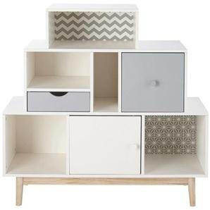 Cabinet de rangement 2 tiroirs 1 porte blanc et gris Joy