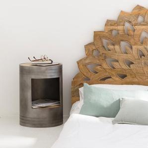 Table de chevet bidon bois métal gris 1 niche