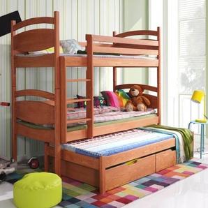 Lit superposé César avec lit gigogne - Aulne - 80 cm x 170 cm