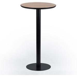 SKLUM - Table Onic Ø60 Marron Bois Naturel Aluminium / Bois