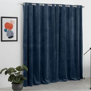 Julius, une paire de rideaux à œillets doublés en velours 228 x 228 cm, bleu encre