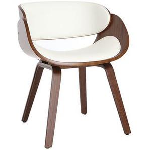 Chaise design blanc et bois foncé BENT