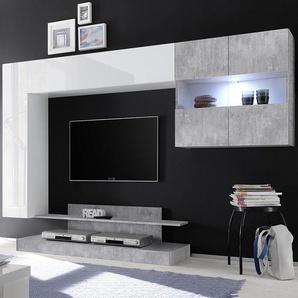 Meuble TV suspendu led design blanc laqué et gris PICERNO